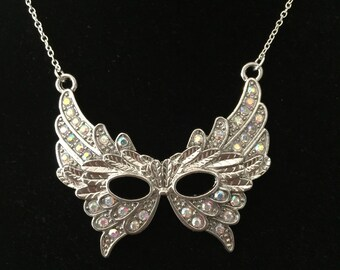 Masquerade mask necklace pandant with Rhinestones