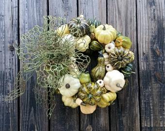 Thanksgiving Wreath, Pumpkin and Squash Wreath, Ready to Ship