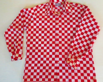 Vintage 70s 80s Shirt, Red and White Check, Long Sleeves, Flare Collar, Elderado USA, size Large, Geometric Mod, Retro Shirt