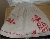 vintage oatmeal linen crossstitched apron, red lady,