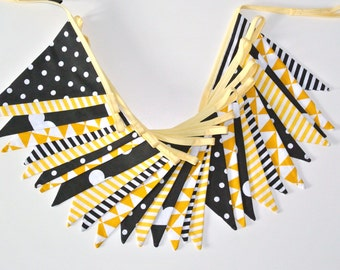 Fabric garland, banner, bunting in black and yellow, guirlande de fanions, bunting BY METERS