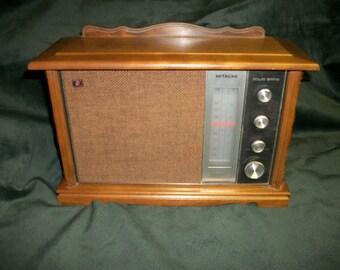 Vintage Hitachi Model K 790H Table Top Radio AM FM AFC Wooden Japan