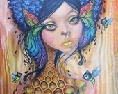 Guardian of the Bees II, large print, 11x14inch size, giclee, fine art print, art by phresha, queen bee, honeycomb, big eye art