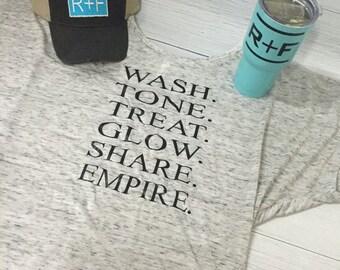 Ladies Domlan Sleeve Rodan and Fields Shirt, Wash, Tone, Treat, Glow, Share, empire