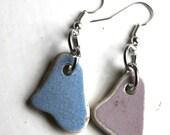 light blue and dust pink beach pottery earrings bohemian jewelry statement jewellery sea china earings