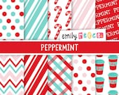 80% OFF SALE Peppermint Candy Cane Digital Papers, Instant Download, Commercial Use