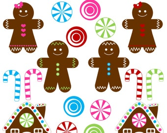 Gingerbread Clipart - Dark Brown - Instant Download