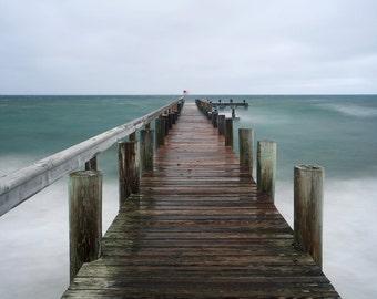 Large Art, Pier Photography, Martha's Vineyard Photo, Seascape Photograph Ocean Storm Picture,Dock Photo Beach Artwork Teal Blue Green Brown