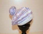 Knit Baby Girl Hat, Purple Baby Bonnet, Baby Girl Purple Hat, Infant Bobble Hat, Knit Baby Girl Cap, Purple Bobble Beret, New Baby Girl Gift