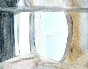 Partial view. Delicate abstract watercolor painting. Beige and light blue. Fine art print, abstract interior