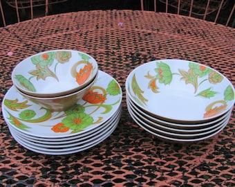 Rare Mikasa Eclipse Everglade Dishes Bowls Salad Plates