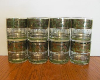 Cera Golden Green Grapes Rocks Glasses Tumblers Set of 8
