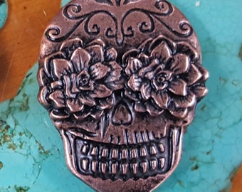 2 Sugar skull conchos antique copper