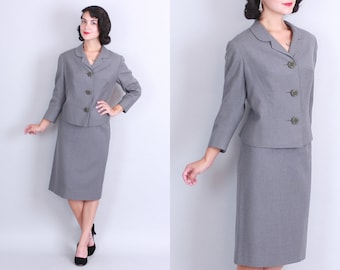 1950s Grey WOOL SUIT | Vintage 50s Two Piece Skirt & Jacket Set | small