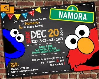 Elmo Invitation, Elmo Birthday, Elmo Birthday Invite, Sesame Street Invitation, Sesame Street Elmo Invitation, Elmo Printables 1st 2nd TF-13