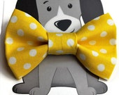 Yellow Polka Dot Bow Tie for Cat, Dog Bow Tie, Cat Costume, Pet Bowtie, Handmade in Canada, Kitty, Slip onto Collar, Wedding Attire for Pets