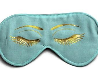 Funny Sleep Mask with Eyes, Cute Eye Mask, Travel Mask, Spa Mask, Blindfold, Valentine's Day Gift, Gift for Her, Eyelashes, Turquoise, Gold