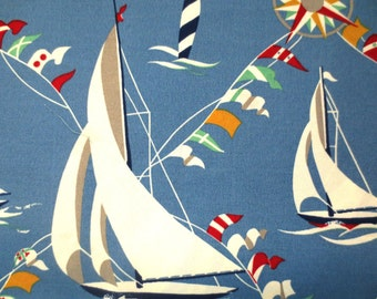 OUTDOOR Pillow Cover / Blue Sailboat Print / Nautical Pillow Cover