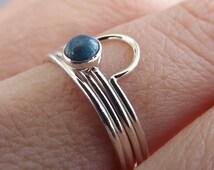 Arc Ring, Arch Ring, Lapis Ring, Arch Ring Set, Boho Ring Set, Unique Ring Set, Minimalist Rings, Denim Lapis, Gemstone Ring Set, Slim Rings