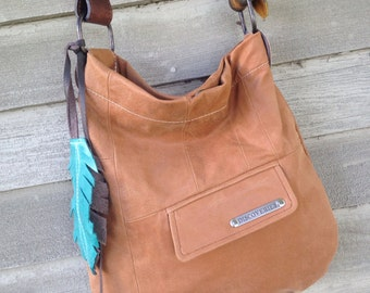 SHIPS TODAY Recycled Camel Brown Leather Hobo w/ Belt Strap, Pockets and Feather