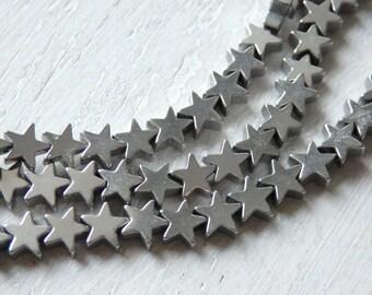 Silver star hematite beads - one full strand of 6mm silver tone hematite beads, star shaped beads, strand silver star beads, 6mm star beads