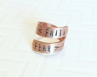 Faith Over Fear Ring - Copper Wrap Ring - Hand Stamped Ring - Gift For Her - Religious Ring - Skinny Block Font