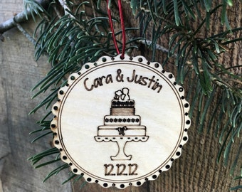 Custom Wedding Christmas Ornament Our First Christmas Married Newlywed Ornament Newlywed Christmas Ornament Personalized Wedding Gift