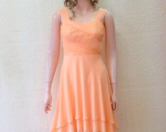 Peach Dress. Bridesmaid Dress. Evening Dress.