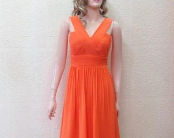 Orange Bridesmaid Dress. Party Dress. Chiffon Dress.