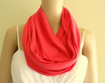 Coral Red Circle Scarf. Infinity Scarf.