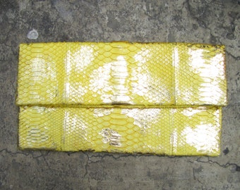 OVERSIZE - Yellow Metallic Gold Fold Over Python Snakeskin Leather Clutch Bag