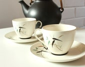 Royal Doulton Bamboo Pattern Coffee Cups and Saucers for Two