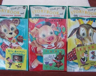 3 LOWE TIDDLYWINK TALES Storybooks Coloring Books Sealed