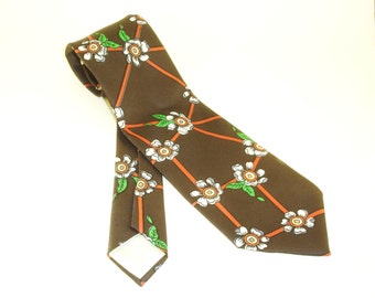 1970s Wide JCPenney Tie Mens Vintage Brown Disco Era Polyester Necktie with Printed Floral Designs & Abstract Lines