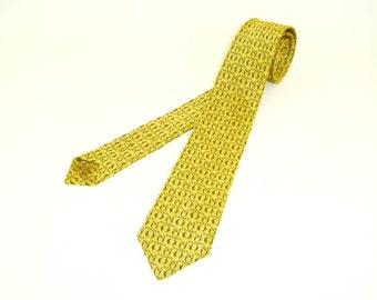 1950s Gold Skinny Tie Narrow Mad Men Era Mid Century Modern Shiny Gold Mens Vintage Necktie with black woven designs