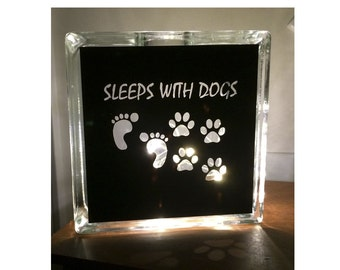 Sleeps with Dogs Paw Prints Glass Block Fairy Lights Night Light