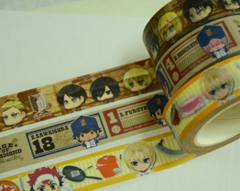 1 Roll Japanese Anime Washi Tape (Pick 1): Attack on Titan, Ace of Diamond, or Food Wars Shokugeki no Soma