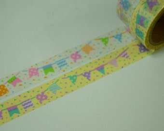 2 Rolls of Japanese Washi Masking Paper Tape -Party Garland