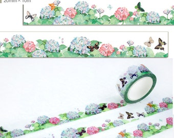 1 Roll Limited Edition Washi Tape: Hydrangea and Butterfly