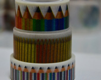 3 Rolls of Japanese Washi Tape: Colorful Pencils