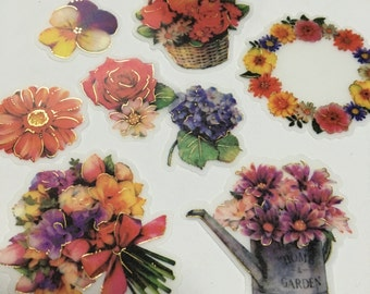 A Pack of 32 pcs 8 Designs Stickers Seal: Flower Banquet and Wreath