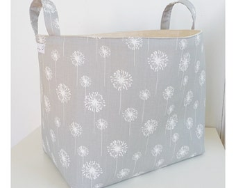Extra Large Storage Basket Fabric Organizer in Premier Prints Grey Dandelion with Handles - Choose Size
