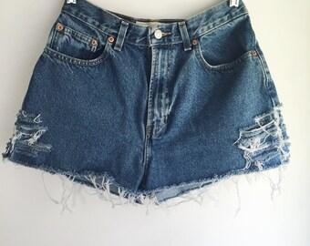 High Waisted Gap Jean Shorts Cutoffs Size 28