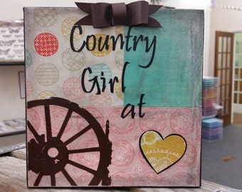 "Country Girl at Heart. 6"" x 6"" paper on canvas."