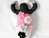 Pink and Grey Flower ~ Small Wool Goddess Doll, Valentines Gift