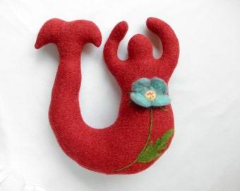 Red Mermaid with Blue Poppy~ Medium Mermaid Wool Goddess Doll