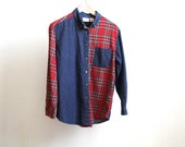 90s dark blue DENIM oxford button up blouse shirt with PLAID collar