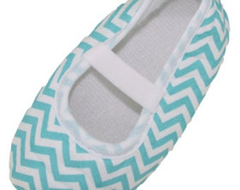 Aqua Striped Crib Shoes