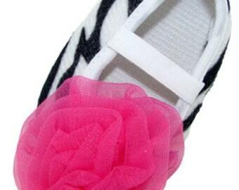 Hot Pink Zebra Crib Shoes