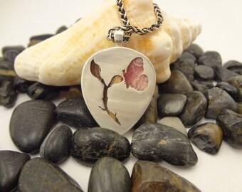 Rhodochrosite butterfly pendant, sterling silver, twig, nature, healing, pierced, reversible